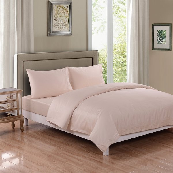 Honeymoon 500 Thread Count Cotton Breathable Fade-resistant Embroidery 4PC Sheet Set