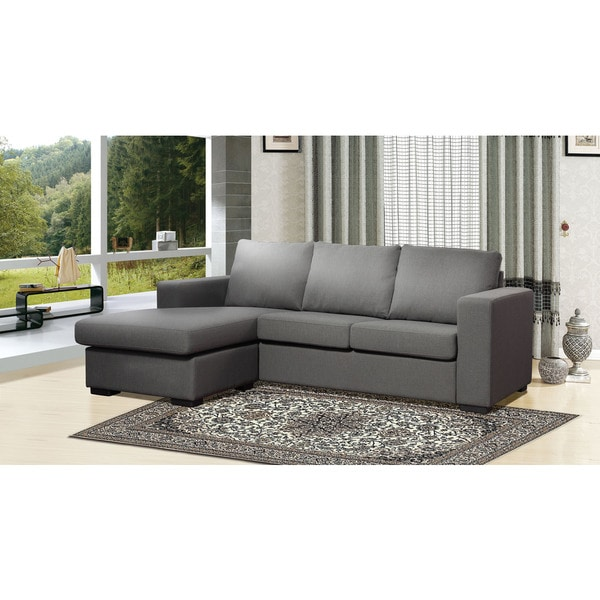 the-Hom Colton Grey Linen Sectional Sofa with Reversible Chaise