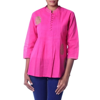 Handcrafted Cotton 'Bengali Rose' Blouse (India)