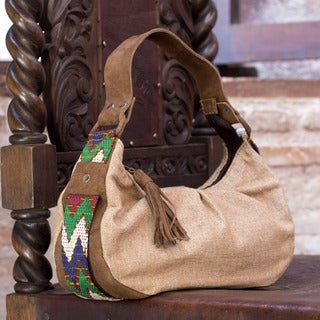 Leather Accent Cotton 'San Juan Brown' Baguette Handbag (Guatemala)