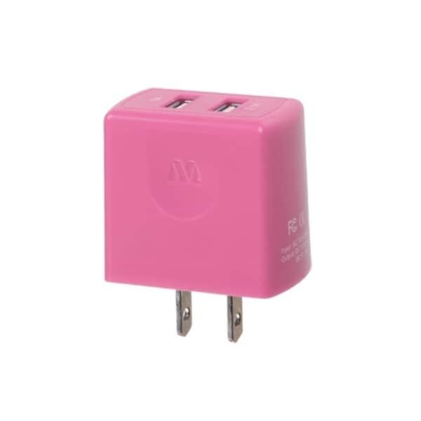MYBAT Pink US Travel Charger 5V 2.1A Adapter With Dual USB Output LED Indicator