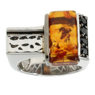 Michael Valitutti Palladium Silver And Amber Ring