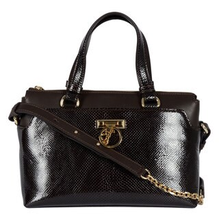 Versace Collection Snakeskin Crossbody Satchel
