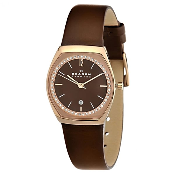 Skagen 'Classic Charlotte' Women's Rose Gold Tone Ion Plated Stainless Steel and Leather SKW2118 Watch