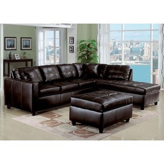 Milano Reversible Sectional Sofa w/2 Pillows in Espresso Fonded Leather Match