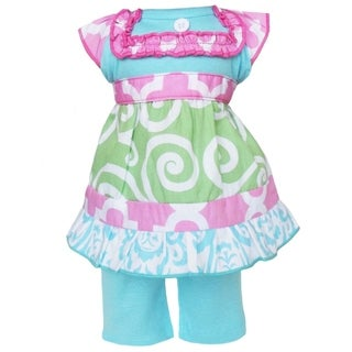 AnnLoren Boutique Green Swirl/ Pink Lattice Dress and Capri Doll Outfit