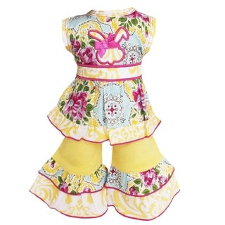 AnnLoren Boutique Floral Bunny Halter Easter Dress and Capri Doll Outfit