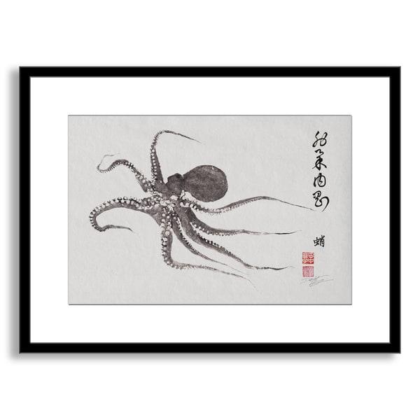 Dwight Hwang's 'Flying Octopus Calligraphy' Framed Paper Art