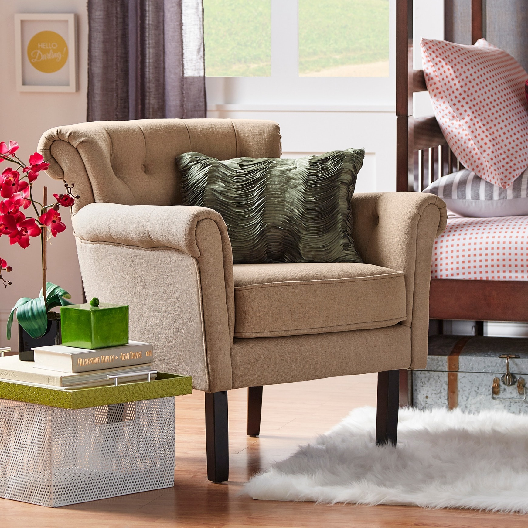 Overstock.com Asher Upholstered Button-tufted Rolled Arm Club Chair