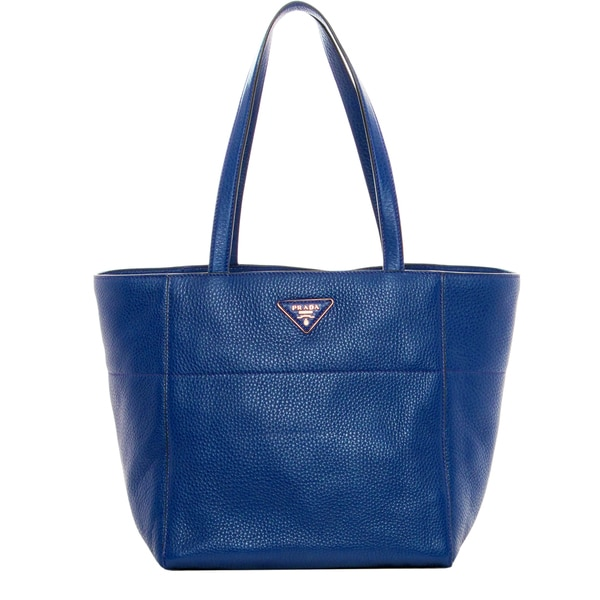 Prada Large Cobalt Grainy Leather Tote