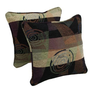 Blazing Needles 18-inch 'Dark Side of the Moon' Jacquard Chenille Square Throw Pillows (Set of 2)