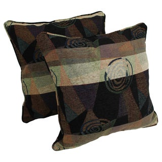 Blazing Needles 25-inch 'Dark Side of the Moon' Jacquard Chenille Square Floor Pillows (Set of 2)
