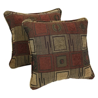 Blazing Needles 18-inch 'Manhattan' Jacquard Chenille Square Throw Pillows with Inserts (Set of 2)