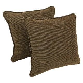 Blazing Needles 18-inch 'Vermont' Jacquard Chenille Square Throw Pillows with Inserts (Set of 2)