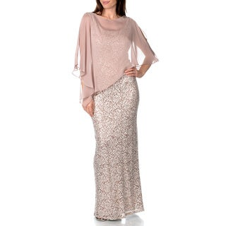 S.L. Fashions Women's Sequin Rose Lace Gown