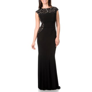 Ignite Evenings by Carol Lin Women's Sequin Mesh Trim Gown