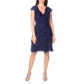 S.L. Fashions Women's Chiffon Ruffle Neck Dress