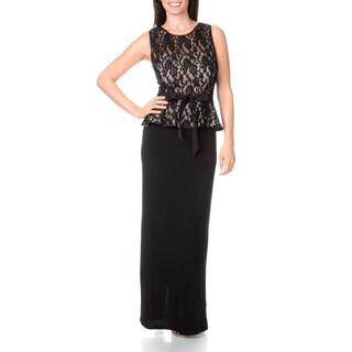 S.L. Fashions Women's Lace Peplum Gown