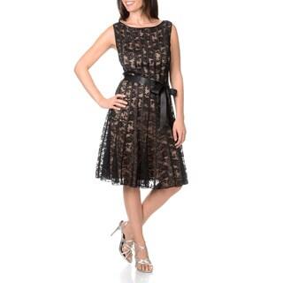 S.L. Fashions Women's Ribbon Tie Waist Dress