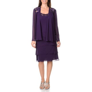 S.L. Fashions Women's 2-piece Eggplant Dress