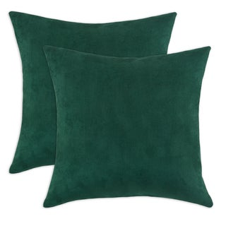 Passion Suede Dark Green 17-inch Decorative Throw Pillow (Set of 2)