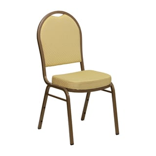 Offex Hercules Beige Dome Back Stacking Banquet Chair with Gold Frame