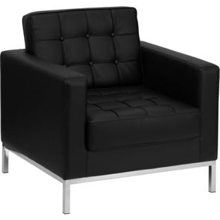 Offex Hercules Lacey Series Contemporary Black Leather Chair with Stainless Steel Frame