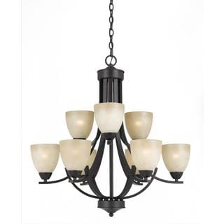 Lumenno Transitional 9-light Bronze Chandelier with Tea Stained Shade
