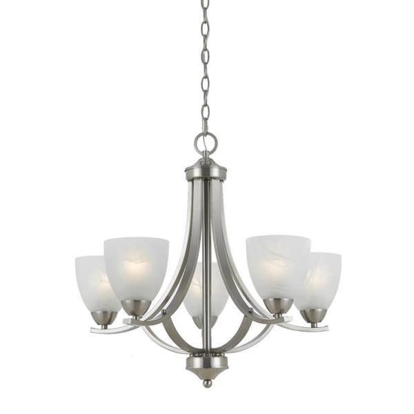 Value Collection 8001 Lumenno International Transitional 5 Light Satin Nickel Chandelier