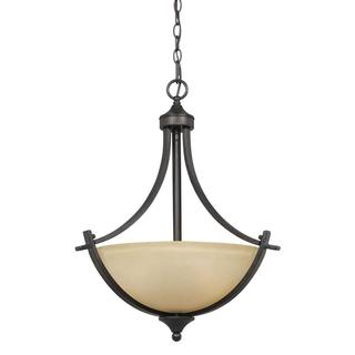 Value Collection 8000 Lumenno International Transitional 3-light Bronze Pendant Light with Tea Stained Glass Shade