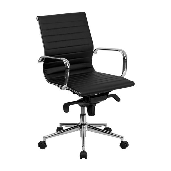 Offex Mid-back Black Ribbed Upholstered Leather Conference Chair 14646186