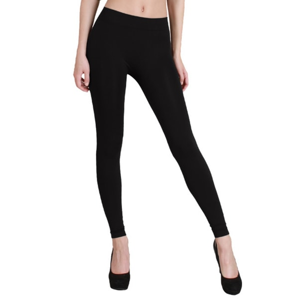 Nikibiki Solid Thick Ankle Length Leggings in Black (As Is Item)