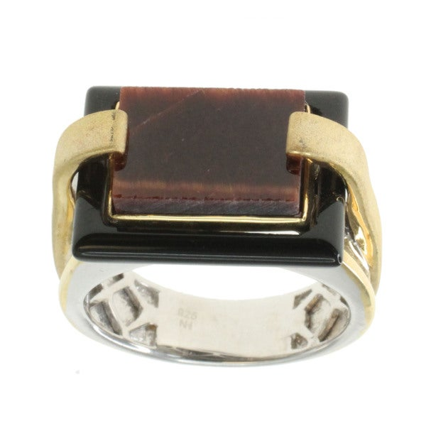 Michael Valitutti Black Onyx and Tiger's Eye Ring
