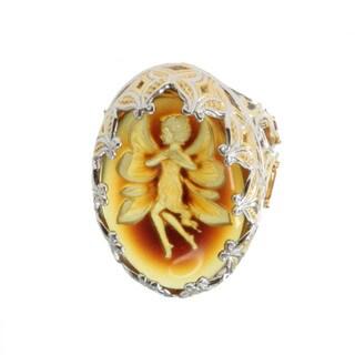 Michael Valitutti Palladium Silver Golden Amber Fairy Ring