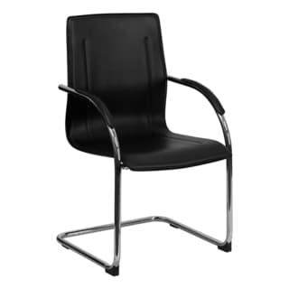Offex Black Vinyl Side Chair with Chrome Sled Base