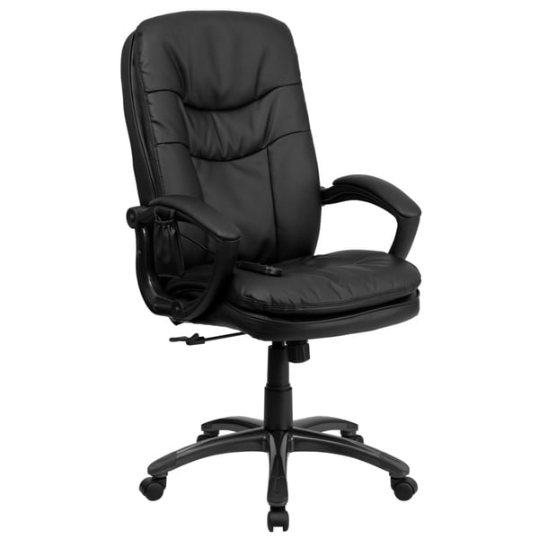 Offex Office Mid-back Massaging Black Leather Executive Chair 14646406