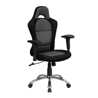 Offex Race Car Inspired Bucket Seat Office Chair in Grey Black Mesh