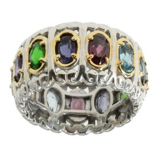 Michael Valitutti Palladium Silver Multi Gemstone Ring