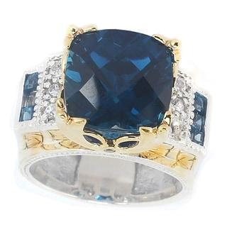 Michael Valitutti Palladium Silver London Blue Topaz Ring With Sapphire Accents