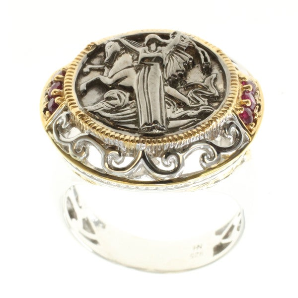 Michael Valitutti Palladium Silver Ruby Ladies Coin Ring