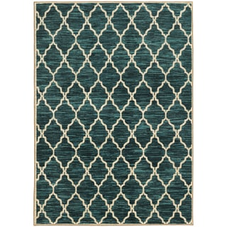Scalloped Lattice Teal/ Ivory Egyptian Rug (5'3 X 7'6)