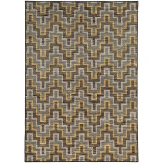 Geometric Chevron Grey/ Gold Rug (9'10 X 12'10)