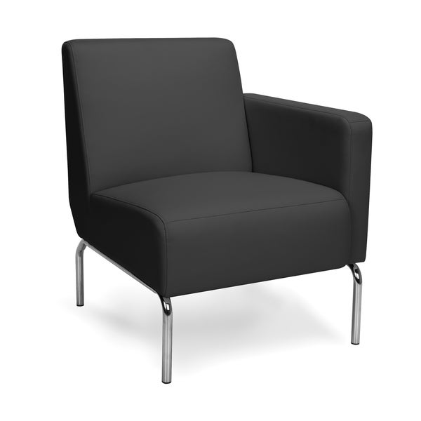 Triumph Series Left Arm Modular Lounge Chair with Polyurethane Seat and Chrome Feet
