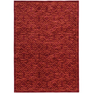 Tribal Ikat Red/ Orange Rug (5'3 X 7'6)