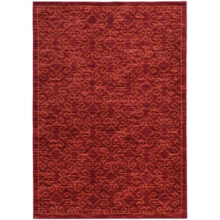 Tribal Ikat Red/ Orange Rug (6'7 X 9'6)