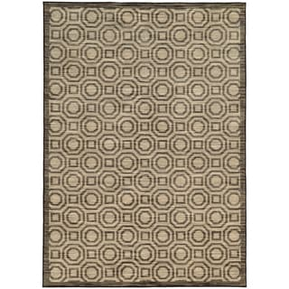 Two Tone Geometric Charcoal/ Grey Rug (5'3 X 7'6)