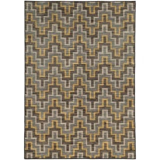 Geometric Chevron Grey/ Gold Rug (6'7 X 9'6)
