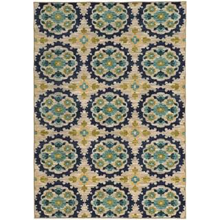 Panel Floral Beige/ Blue Rug (5'3 X 7'6)
