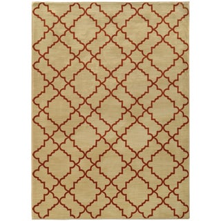 Scalloped Lattice Beige/ Rust Rug (6'7 X 9'6)