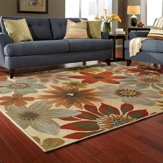 Large Scale Floral Beige/ Blue Rug (5'3 X 7'6)
